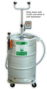 A picture of a G1562 portable eye wash (sold separately) on top of a Guardian G1562DLY Stainless Steel Dolly.