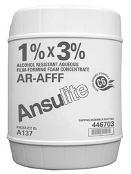 A  photograph of a 50035 Ansulite™ A137 1%x3% AR-AFFF Concentrate, in a 5 gallon (19 liter) pail.