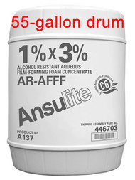 A  photograph of a 50036 Ansulite™ A137 1%x3% AR-AFFF Concentrate, in a 55 gallon (208 liter) drum.