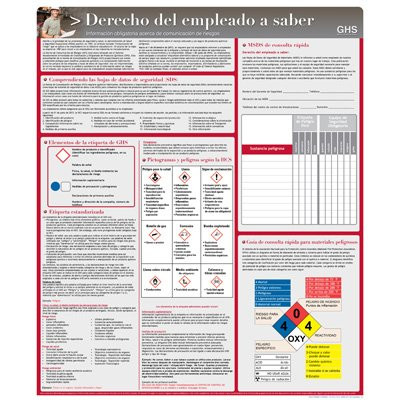 A photograph of a 11011 spanish employee right to know HazCom safety poster with graphic and annotation.