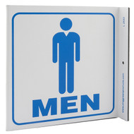 Mens Room Wall-Projecting L-Sign w/ Icon