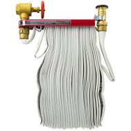 A photograph of a 09905 fire hose pin rack with fire hose installed.