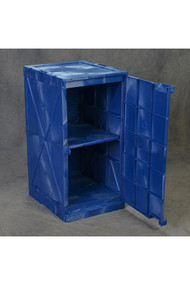 A photograph of a blue 02071 Eagle Modular Quik-Assembly™ Polyethylene Acid and Corrosive cabinet with 12 gallon capacity and door open.