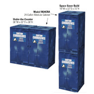 Illustration of the two assemblies for the blue 02072 Eagle Modular Quik-Assembly™ Polyethylene Acid and Corrosive cabinet with 24 gallon capacity.