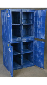 A photograph of a blue 02073 Eagle Modular Quik-Assembly™ Polyethylene Acid and Corrosive cabinet with 48 gallon capacity and door opened.