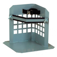 A photograph of a 26010 low-profile single gas cylinder floor-mounted storage stand with strap.