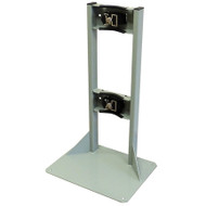 A photograph of a standard 26011 single gas cylinder floor-mounted storage stand with straps.
