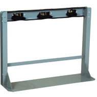 A photograph of a 26013 3 gas cylinder floor-mounted storage stand with straps.