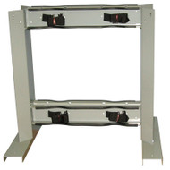 4 Gas Cylinder  Floor-Mounted Back to Back Storage Stand w/ Straps