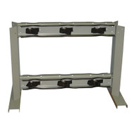 A photograph of a 26016 6 gas cylinder floor-mounted back to back storage stand with straps.