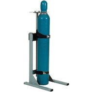 A photograph of a 26032 single cylinder gas cylinder mobile stand in use with a gas cylinder.