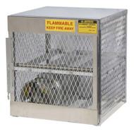 A photograph of an aluminum 26050 4-cylinder horizontal LPG cylinder locker.