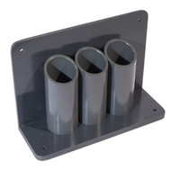 A photograph of a 26037 3-cylinder wall/bench-mounted lecture bottle holder.