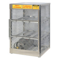A photograph of an aluminum 26051 6-cylinder horizontal LPG cylinder locker.