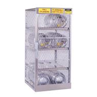 A photograph of an aluminum 26052 8-cylinder horizontal LPG cylinder locker.