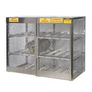 A photograph of an aluminum 26053 12-cylinder horizontal LPG cylinder locker.