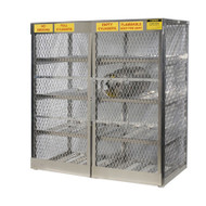 A photograph of an aluminum 26054 16-cylinder horizontal LPG cylinder locker.