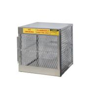 A photograph of an aluminum 26055 4-cylinder vertical LPG cylinder locker.