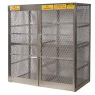 A photograph of an aluminum 26058 16-cylinder vertical LPG cylinder locker.