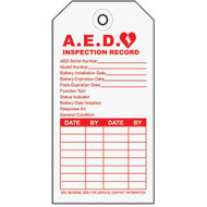 A  photograph of a card-stock 13003 emergency defibrillator (AED) inspection tag, with 10 per package.