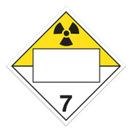 4 Digit Blank DOT Placards, Class 7 Radioactive Materials