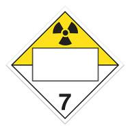 A photograph of a 03150 4 digit blank dot placards, class 7 radioactive materials.