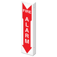 """Picture of the Double-Sided Fire Alarm Wall-Projecting L-Sign, 4"""" w x 18"""" h."""
