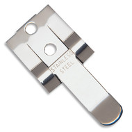 A photograph of a 03184 stainless steel DOT placard holder clip.