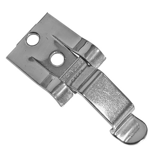 A photograph of a 03185 stainless steel DOT placard holder clip for flip placard systems.