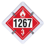 A photograph of a red 03188 3-legend DOT fuel flip placard system, with UN/NA numbers 1202, 1203 and 1267.