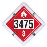 A photograph of a 03191 6-legend DOT fuel flip placard system.