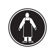 A photograph of a self-adhesive 01842 apron GHS PPE laboratory pictogram label pad.