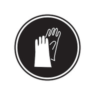 A photograph of a self-adhesive 01846 gloves GHS PPE laboratory pictogram label pad.