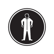 A photograph of a self-adhesive 01848 full protective suit GHS PPE laboratory pictogram label pad.