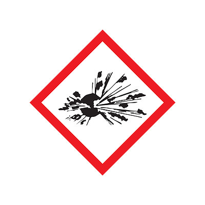 A red and white photograph of a 03602 GHS exploding bomb pictogram label.