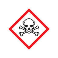 A photograph of a 03605 GHS skull and crossbones pictogram label.