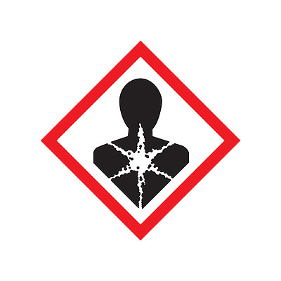 A photograph of a 03606 GHS health hazard pictogram label.