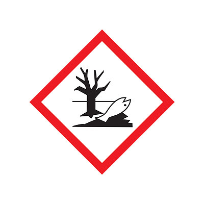 A photograph of a 03607 GHS environment pictogram label.