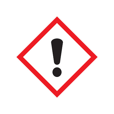 A photograph of a 03608 GHS exclamation point pictogram label.