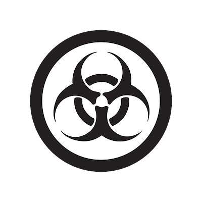 A photograph of a 03609 GHS biohazard pictogram label.