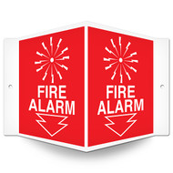 Picture of the Fire Alarm Wall-Projecting V-Sign w/ Icon and Arrow.