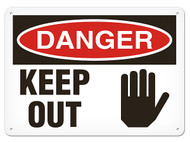 A photograph of a 01635 danger, keep out osha signs w/ hand graphic.