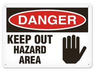 A photograph of a 01636 danger, keep out hazard area OSHA sign with hand graphic.