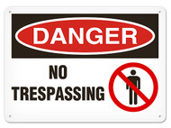 A photograph of a 01639 danger, no trespassing OSHA sign with prohibition icon.