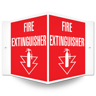 Picture of the Fire Extinguisher Wall-Projecting V-Sign w/ Icon and Arrow.