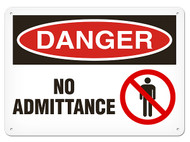 A photograph of a 01637 danger, no admittance OSHA sign with prohibition icon.