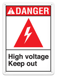 DANGER, High Voltage Keep Out ANSI Signs w/ High Voltage Icon