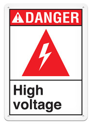 DANGER, High Voltage ANSI Signs w/ High Voltage Icon