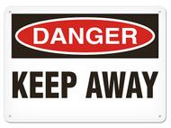A photograph of a 01627 danger, keep away OSHA sign.