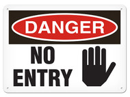 A photograph of a 01631 danger, no entry OSHA sign with hand graphic.